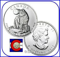 2011 Canada 1 oz Silver Maple Leaf Wolf Roll - 25 Canadian Coins in Tube