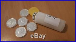 2012 5 x 1oz Silver Canada Maple Leaf coin in plastic capsule 5 coins