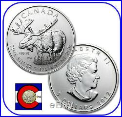 2012 Canada 1 oz Silver Maple Leaf Moose Roll - 25 Canadian Coins in Tube