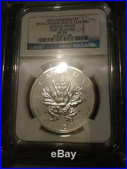 2013 $5 CANADA SILVER 1 OZ MAPLE LEAF REVERSE PROOF NGC PF70 25TH ANNIVERSARY Fr