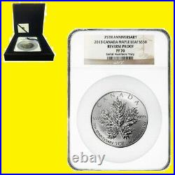 2013 5 oz Silver Canadian Maple NGC RV PF 70 UC 25TH ANN MINT BOX COA