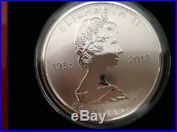 2013 CANADA 5 oz. 9999 Silver 25th Anniversary SILVER MAPLE LEAF$50 2500mintage