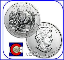 2013 Canada 1 oz Silver Maple Leaf Wood Bison Roll - 25 Canadian Coins in Tube