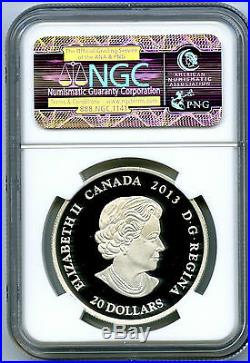 2013 Canada $20 Silver Proof Maple Leaf Impression Ngc Pf70 Colorized Red Enamel