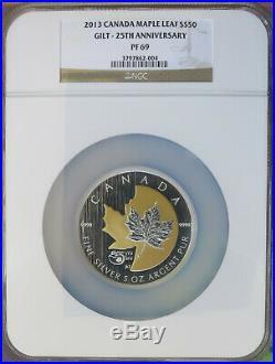 2013 Canada 25th Anniversary 5 oz. Silver $50 Gilt Maple Leaf NGC PF 69