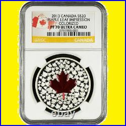 2013 Canada Maple Leaf Clorized 1 Oz Silver 9999 Ngc Pf 70 Ucam Box Coa