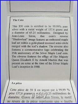 2013 Canada Mint 5 oz ounce Fine Silver Coin Box COA Maple Leaf 25th Anniversary