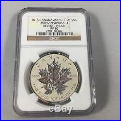 2013 S$5 Canada Silver 1 Oz Maple Leaf Reverse Proof Ngc Pf70 25th Anniversary
