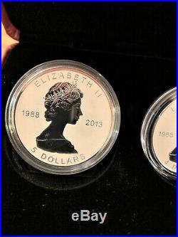 2013 Silver Maple Leaf Fractional Set 25th Anniversary RCM Fine Silver Coins