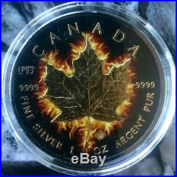 2014 1 Oz Silver $5 CANADIAN BURNING MAPLE LEAF Ruthenium Coin WITH 24K GOLD