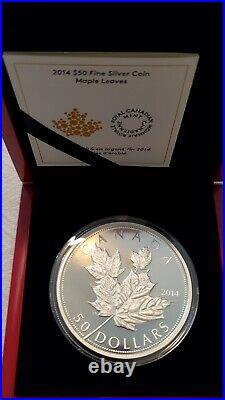 2014 $50 Canada 5 Oz Silver Maple Leaves. 9999 Rare