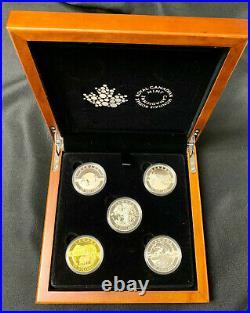 2014 Canada $25 Fine Silver O Canada Set of 5 Coin in Maple Box with COA's