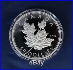 2014 Canada 5oz Silver Proof $50 coin Maple Leaves in Case with COA (R10/7)