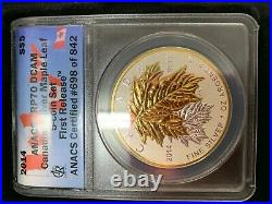 2014 Canadian Maple Leaf 5 Coin Set Anacs Pr 70 Dcam Reverse Proof Silver Coins