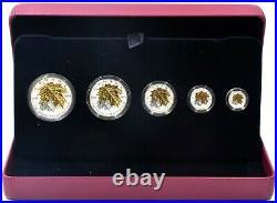 2014 Fine Silver Proof Canadian 5 Maple Leaf Coin Set Box COA 1oz 1/20 oz