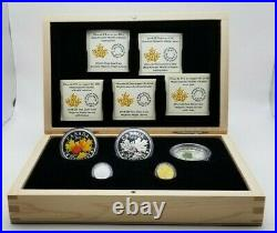 2014'Majestic Maple Leaves 5 coin Set of Silver Platinum Gold