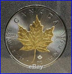2015 1 Oz Silver GOLDEN ENIGMA MAPLE LEAF Coin, Ruthenium and 24K Gold