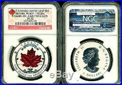 2015 $5 Canada Silver Maple Leaf Ngc Pf70 Er Reverse Proof Incuse Enameled 1 Oz