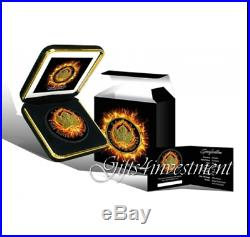 2015 Burning Maple 1oz Silver Coin Black Ruthenium and 24kt Gold Gilded