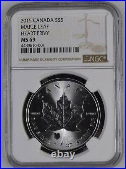 2015 Canada $5.9999 1 Oz Silver Maple Leaf Heart Privy NGC MS69 Super Rare