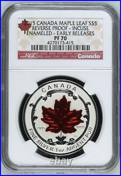2015 Canada $5 Silver Maple Leaf Reverse Proof Incuse Enameled NGC PF 70 RARE