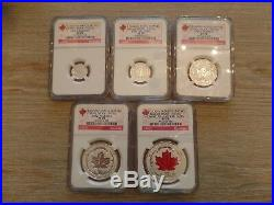2015 Canada Fine Silver Fractional Set The Maple Leaf NGC Graded PF 70 Reverse
