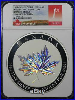 2015 Canada Maple Leaf Forever Hologram 1 Kilo Silver NGC PF-69 UC