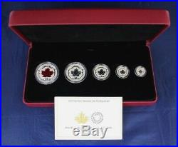 2015 Canada Silver Proof 5 coin set The Maple Leaf in Case with COA (H8/125)