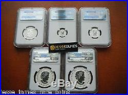2015 Reverse Proof Silver Canada Maple Leaf Ngc Pf70 Early Releases 5 Coin Set