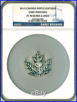 2015 S$20 Canada Maple Leaf Shape Silver Coin ER NGC PF70 Ultra Cameo