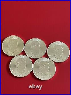 2015 x 5 1oz of Solid Silver Canadian Maple Leaf Bullion Coin NEW UC