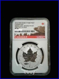 2016 1 oz. 9999 Silver Canadian Maple Leaf Mark V Tank Privy NGC PF70 FDOI