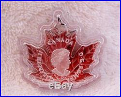 2016 $20 Canadian Maple Leaf Shaped Coin, 99.99% Pure Silver Color Proof Canada
