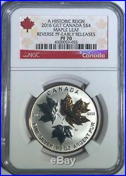 2016 $4 1/2 Oz Canada Silver Maple Leaf Gilt Ngc Pf70 Ucam Reverse Proof Pr70