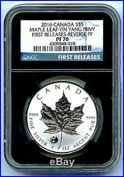 2016 $5 Canada 1oz Silver Maple Leaf Ngc Pf70 Yin Yang Privy Reverse Proof Pop20