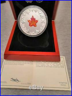 2016 Canada Autumn Radiance Murano Glass Maple Leaf 5 oz Silver Coin 1921