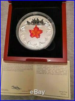 2016 Canada Autumn Radiance Murano Glass Maple Leaf 5 oz Silver Coin 1924