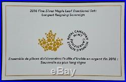 2016 Canada Maple Leaf 5 Coin Silver Fractional Set Longest Reign RCM Free S/H