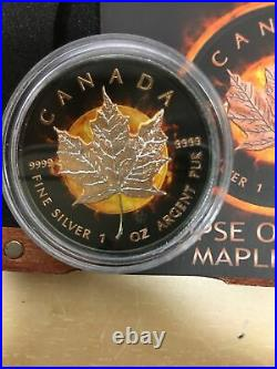 2016 Canada Maple Leaf ECLIPSE OF THE SUN 1oz 24K Rose Gold Gilded Silver. 999
