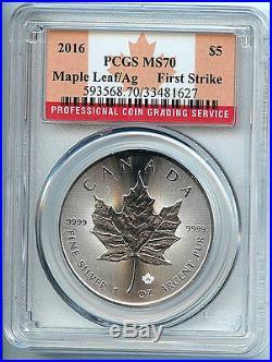 2016 Canadian Maple Leaf Silver $5 Dollar MS70 PCGS. 9999 Coin 1st Strike C6