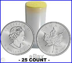 2016 Canadian Silver Maple Leaf Roll of 25 Troy Ounce Of. 9999 Fine Silver