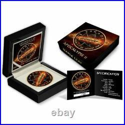 2017 1 Oz. 999 Silver Maple Apocalypse II Black Ruthenium Gold Gilded Box & COA