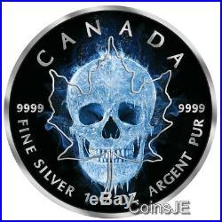 2017 1 Oz. 999 Silver Maple ICE SKULL Black Ruthenium Colorized Box & COA