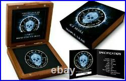 2017 1 Oz Silver $5 MAPLE LEAF ICE SKULL Coin WITH 24K BLACK RUTHENIUM
