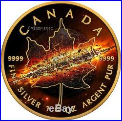 2017 1 Oz Silver APOCALYPSE 2 MAPLE LEAF Coin WITH RUTHENIUM, 24K GOLD GILDED