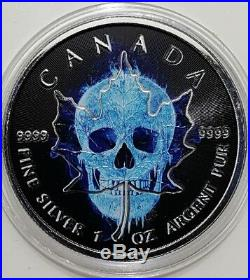 2017 1 Oz Silver ICE SKULL MAPLE LEAF Coin WITH RUTHENIUM