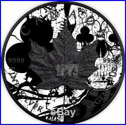 2017 1 Oz Silver Maple Leaf Clubs Skull Coin WITH 24k Black Ruthenium