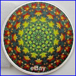 2017 $20 Canadiana Kaleidoscope Maple Leaf 1 oz. 60mm Pure Silver Color Proof
