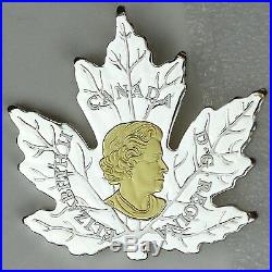 2017 $20 Gilded Silver Maple Leaf Shaped 1 oz. Pure Silver Gold-Plated Coin