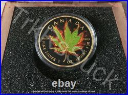 2017 BURNING MARIJUANA HYBRID 1 oz Silver Maple Leaf Coin Ruthenium and 24K Gold
